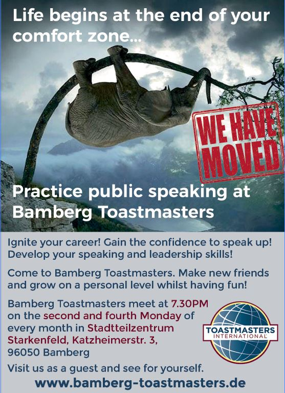 Bamberg Toastmasters has moved to Stadtteilzentrum Starkenfeld